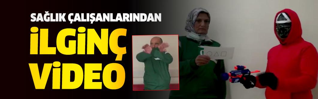 Burdur'da sağlık çalışanlarından ilginç video: Squid Game...